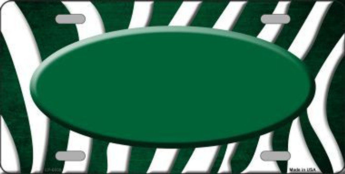 Green White Zebra Oval Oil Rubbed Metal Novelty License Plate