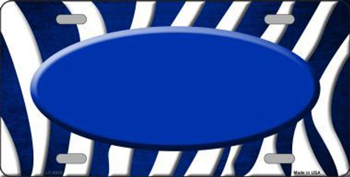 Blue White Zebra Oval Oil Rubbed Metal Novelty License Plate