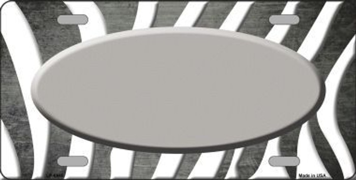 Gray White Zebra Oval Oil Rubbed Metal Novelty License Plate
