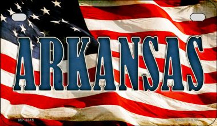 Arkansas US Flag Novelty Metal Motorcycle Plate MP-3615