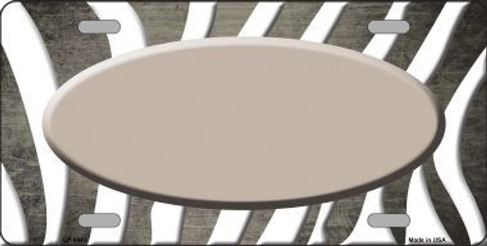 Tan White Zebra Oval Oil Rubbed Metal Novelty License Plate