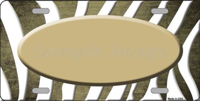 Gold White Zebra Oval Oil Rubbed Metal Novelty License Plate LP-6944