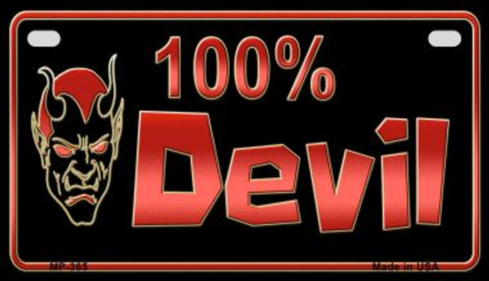 100% Devil Novelty Metal Motorcycle Plate MP-365