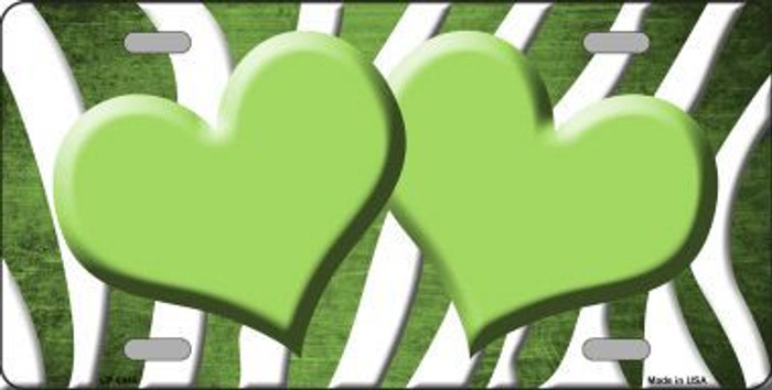 Lime Green White Zebra Hearts Oil Rubbed Metal Novelty License Plate