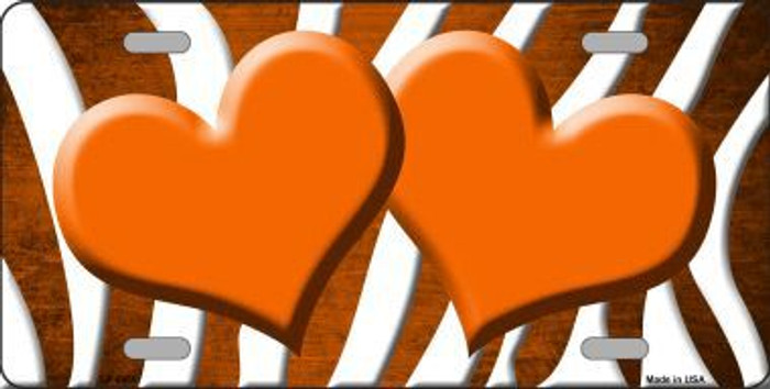 Orange White Zebra Hearts Oil Rubbed Metal Novelty License Plate