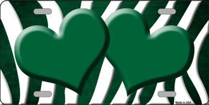 Green White Zebra Hearts Oil Rubbed Metal Novelty License Plate