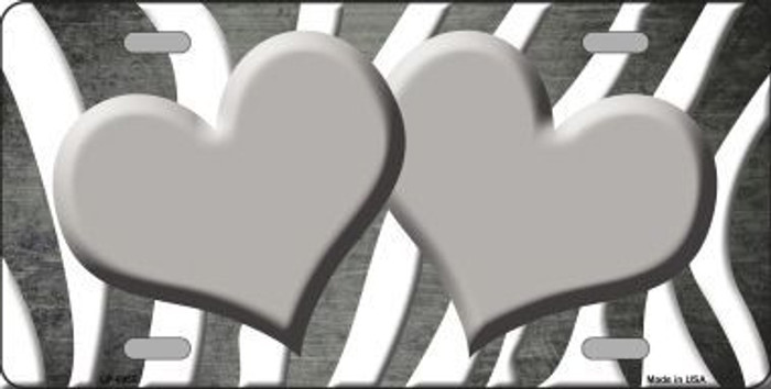 Gray White Zebra Hearts Oil Rubbed Metal Novelty License Plate