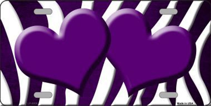 Purple White Zebra Hearts Oil Rubbed Metal Novelty License Plate