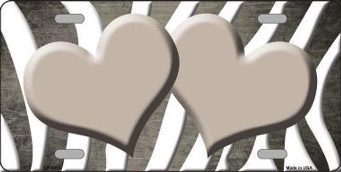 Tan White Zebra Hearts Oil Rubbed Metal Novelty License Plate