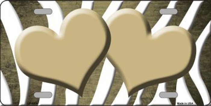 Gold White Zebra Hearts Oil Rubbed Metal Novelty License Plate