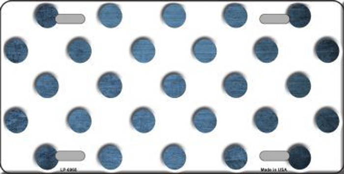 Light Blue White Dots Oil Rubbed Metal Novelty License Plate