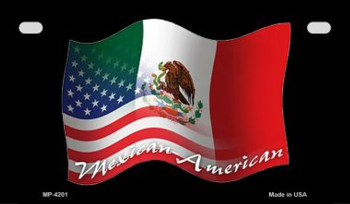 Mexican / American Flag Novelty Metal Motorcycle Plate MP-4201