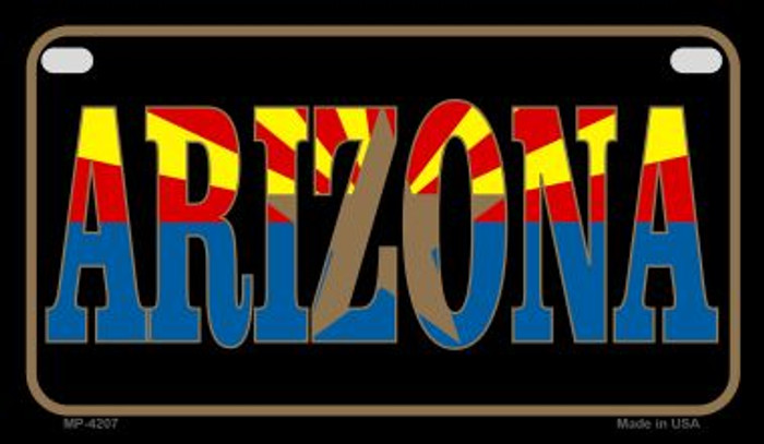 Arizona With Flag Novelty Metal Motorcycle Plate MP-4207