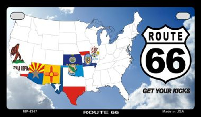 RT 66 8 Flags and Clouds Novelty Metal Motorcycle Plate MP-4347