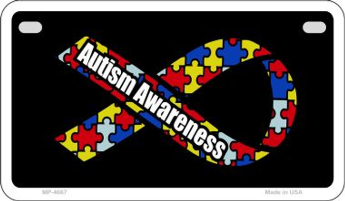 Autism Awareness Ribbon Novelty Metal Motorcycle Plate MP-4667