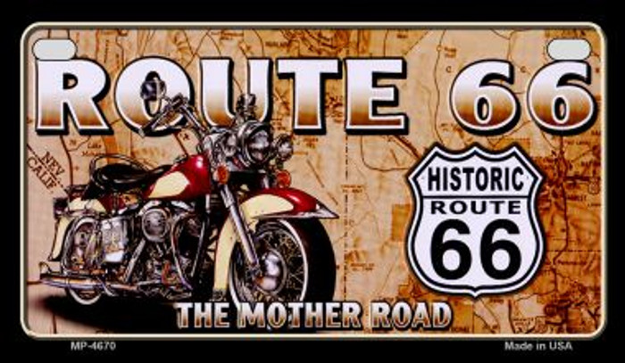 Route 66 Mother Road Motor Cycle Novelty Metal Motorcycle Plate MP-4670