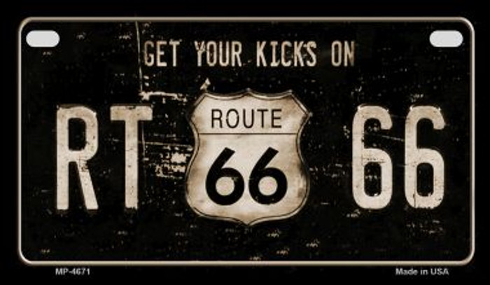 Route 66 Get Your Kicks Novelty Metal Motorcycle Plate MP-4671