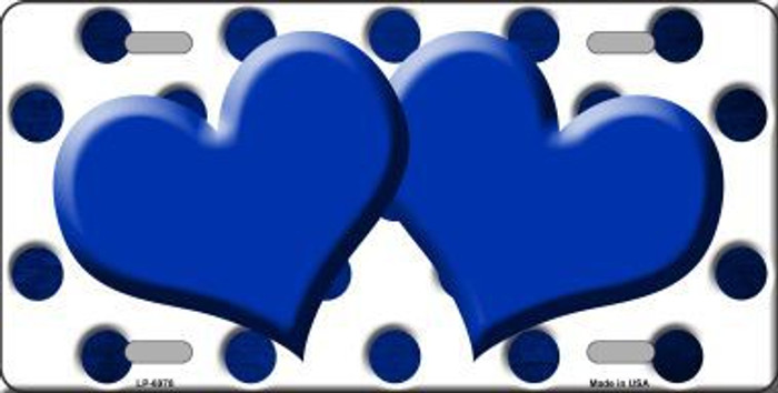 Blue White Dots Hearts Oil Rubbed Metal Novelty License Plate