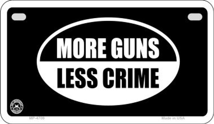 More Guns Less Crime Novelty Metal Motorcycle Plate MP-4709