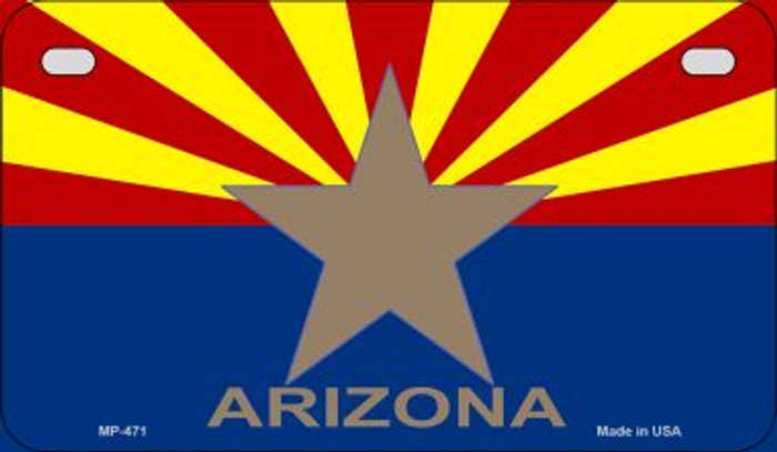 Arizona Big Star Flag Novelty Metal Motorcycle Plate MP-471