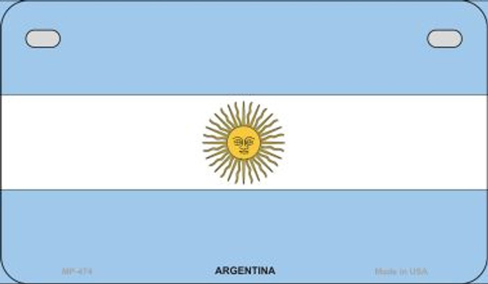 Argentina Flag Novelty Metal Motorcycle Plate MP-474