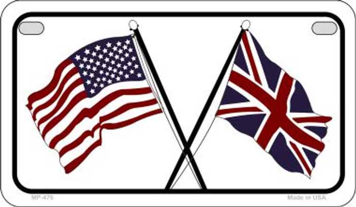 USA / Britain Flag Novelty Metal Motorcycle Plate MP-476