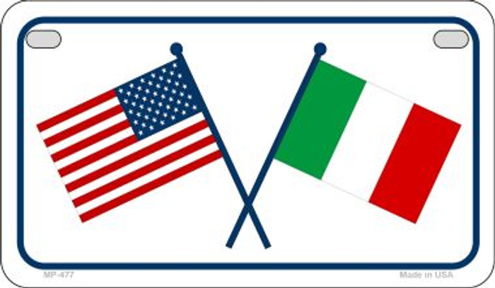 USA / Italy Flag Novelty Metal Motorcycle Plate MP-477