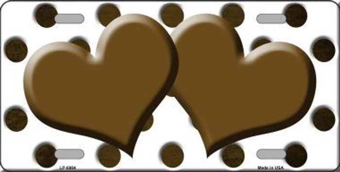 Brown White Dots Hearts Oil Rubbed Metal Novelty License Plate