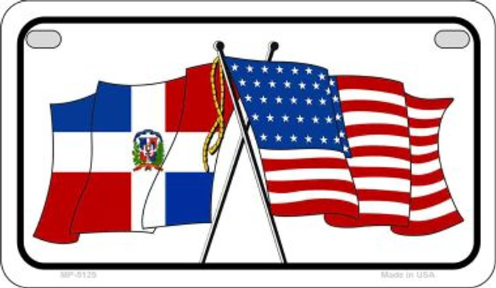 Dominican Republic / USA Flag Novelty Metal Motorcycle Plate MP-5125