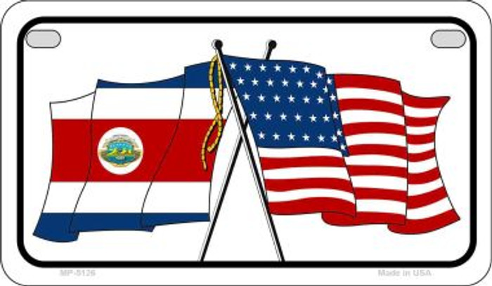 Costa Rica / USA Flag Novelty Metal Motorcycle Plate MP-5126