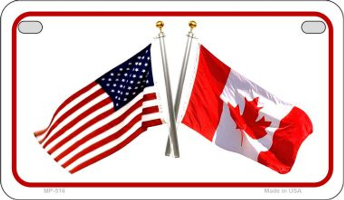 Canada / USA Flag Novelty Metal Motorcycle Plate MP-516
