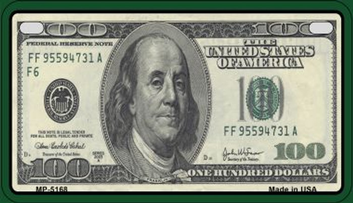 $100 Bill Novelty Metal Motorcycle Plate MP-5168