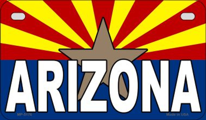 Arizona Flag With Arizona Novelty Metal Motorcycle Plate MP-5176