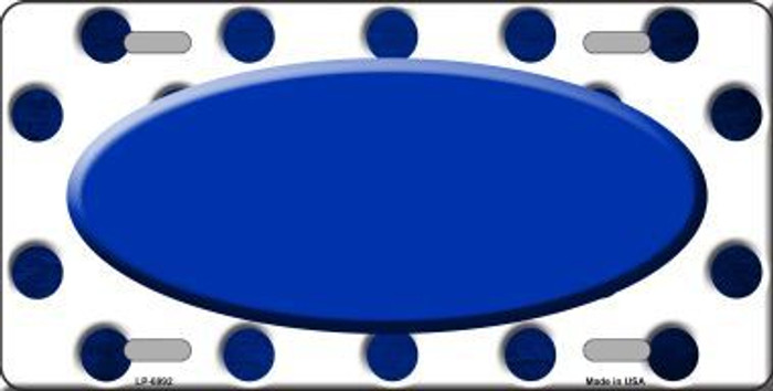 Blue White Dots Oval Oil Rubbed Metal Novelty License Plate