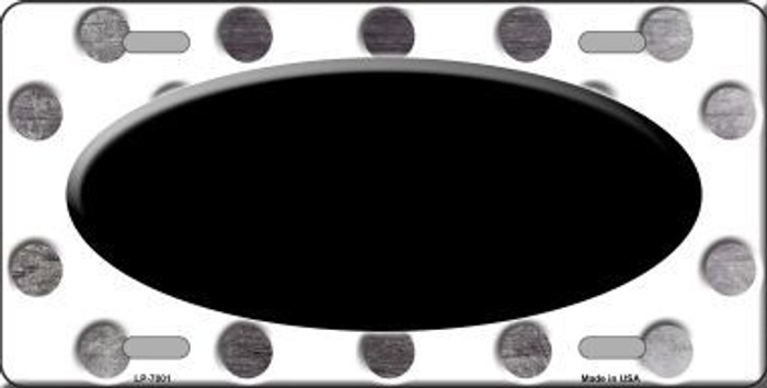 Black White Dots Oval Oil Rubbed Metal Novelty License Plate
