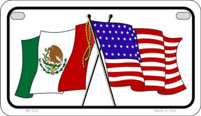 Mexico / USA Flag Novelty Metal Motorcycle Plate MP-532