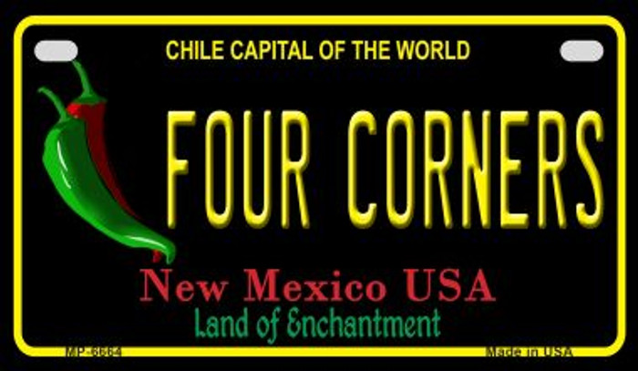 Four Corners Black New Mexico Novelty Metal Motorcycle Plate MP-6664