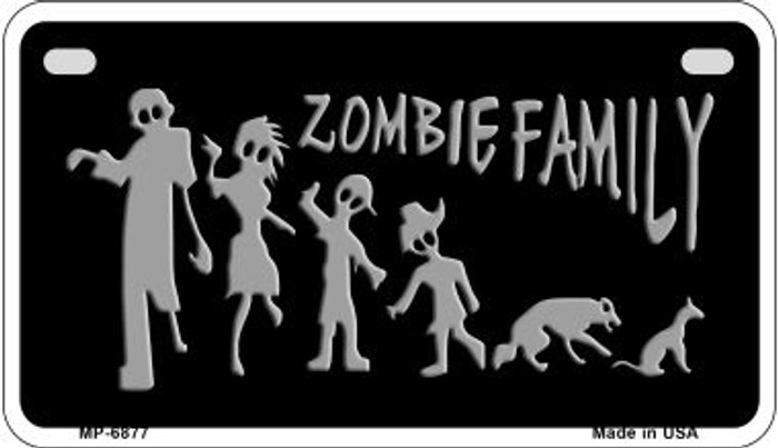 Zombie Family Black Novelty Metal Motorcycle Plate MP-6877