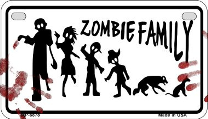 Zombie Family White Novelty Metal Motorcycle Plate MP-6878