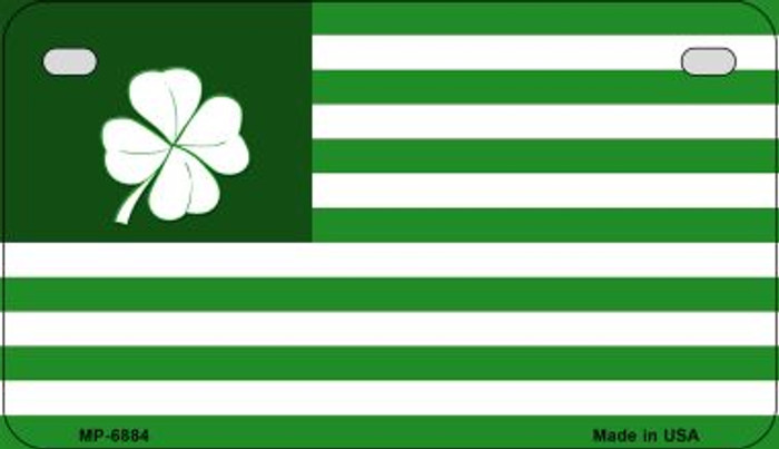 Green Shamrock Flag Novelty Metal Motorcycle Plate MP-6884