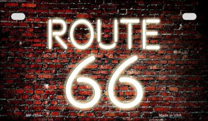 Route 66 Neon Brick Novelty Metal Motorcycle Plate MP-7854