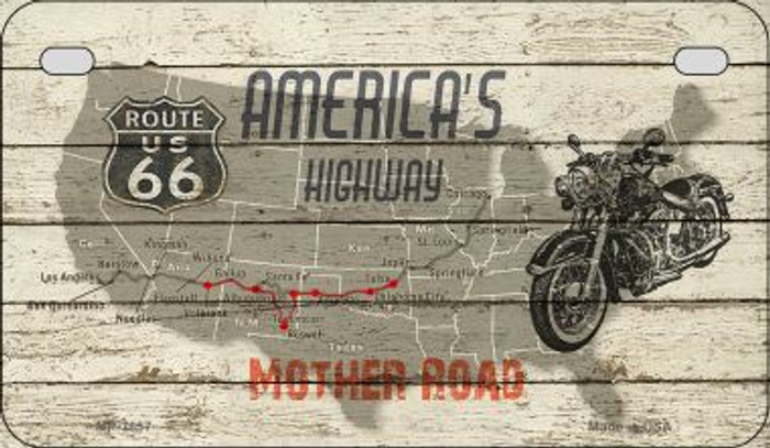 Americas Highway Mother Road Novelty Metal Motorcycle Plate MP-7857