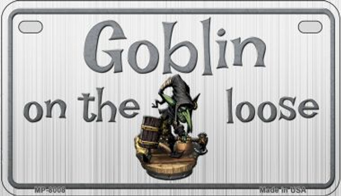 Goblin On The Loose Novelty Metal Motorcycle Plate MP-8008