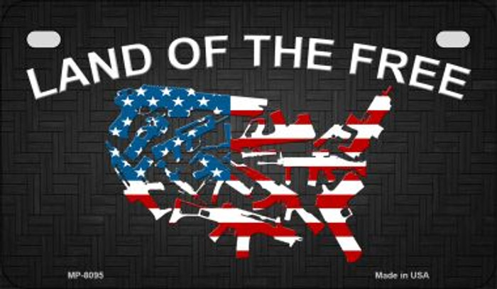 Land of the Free Novelty Metal Motorcycle Plate MP-8095