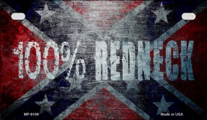 100 Percent Redneck Flag Novelty Metal Motorcycle Plate MP-8109
