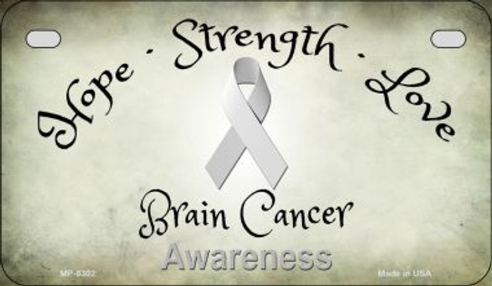 Brain Cancer Ribbon Novelty Metal Motorcycle Plate MP-8302
