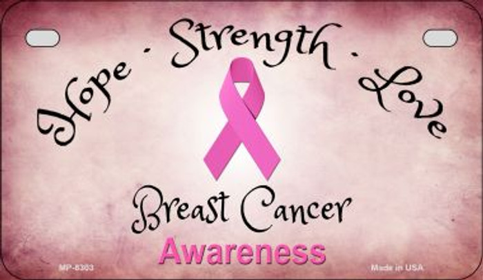 Breast Cancer Ribbon Novelty Metal Motorcycle Plate MP-8303