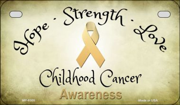 Childhood Cancer Ribbon Novelty Metal Motorcycle Plate MP-8305