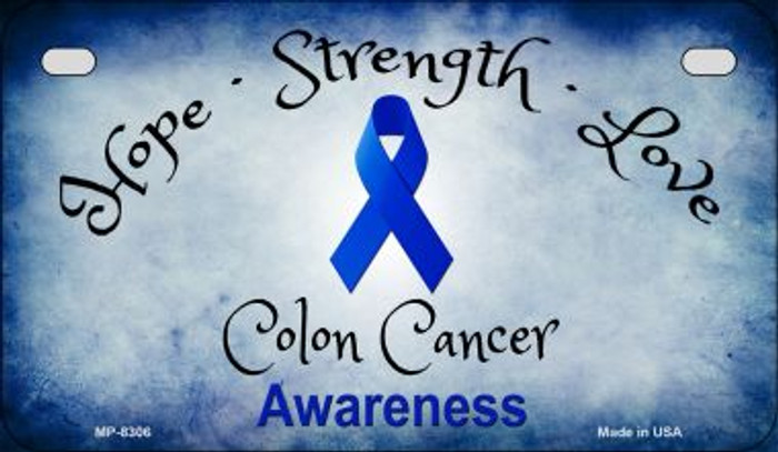 Colon Cancer Ribbon Novelty Metal Motorcycle Plate MP-8306