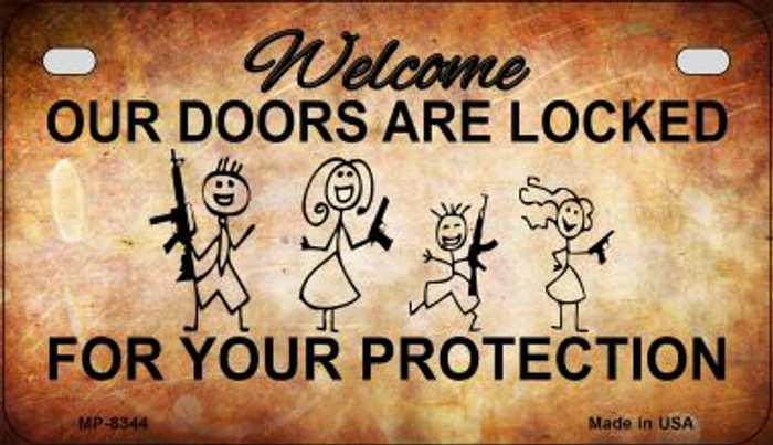Doors Locked Your Protection Novelty Metal Motorcycle Plate MP-8344